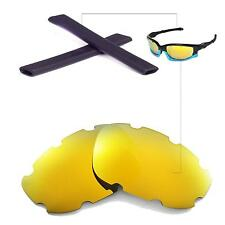 New WL Polarized 24K Gold Vented Lenses+Black Earsocks for Oakley Split Jacket