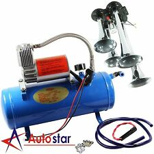 4 Trumpet Air Horn 12 Volt Compressor 18ft Hose 150 dB Train 120 PSI Kit Truck