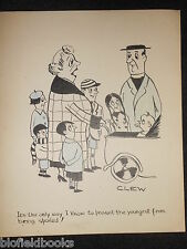 """Clifford C Lewis """"angolo di scotta"""" Originale Penna E Inchiostro CARTONE ANIMATO-Madre con bambini #467"""