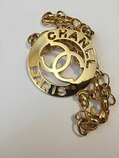 Rare Huge Chanel Paris Logo Pendant Chain Necklace Belt