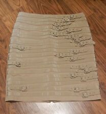 STRAPS BUCKLES BROWN SKIRT tan silk twill hobble pencil pin up steampunk 6 M 3E