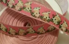1m grosgrain ribbon 25 mm wide bright pink with black & white cows hearts bow
