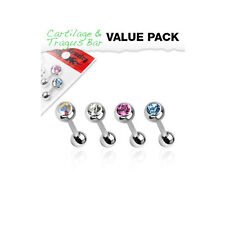 4 Pc Pack Of 4mm C.Z. Tragus Ear Cartilage piercing Helix Piercing Ear Stud 16g