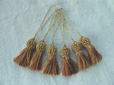 """SIX COUNT ~ Red & Gold 3"""" Key Tassels ~ Throws Drapery Sewing Trim Pillows"""