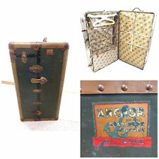 ANCHOR BRAND VINTAGE STEAMER WARDROBE TRUNK ALL ORIGINAL FRIEDBERG-GRUNAUER