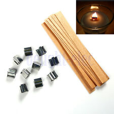10 Set Wooden Wick Candle Core With Metal Sustainer Stand 12.5mmX150mm DG