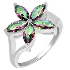 3cts Rainbow Topaz 925 Sterling Silver Ring Jewelry s.8 R5066MY-8