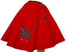 "Red FELT 50s Poodle Skirt _ Adult Size MEDIUM _ Waist 30""- 37"" _ Length 25"""