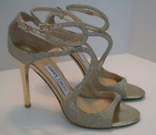 JIMMY CHOO LANG SANDAL GLITTER GOLD STRAPPY SANDALS SIZE 8US / 38EU $850+