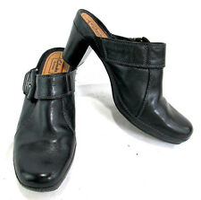 "Clarks Artisan Women's Shoes Open Heel Clog Black Leather 2.75""heel Size 11"