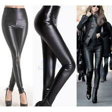 Lady Women's Sexy High Waisted Faux Leather Skinny Stretch Pants Slim Leggings