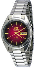 Orient FEM0401RH Men's 3 Star Stainless Steel Day Date Red Dial Automatic Watch