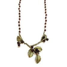 HOLLY LEAF & GARNET NECKLACE BY MICHCAEL MICHAUD FOR SILVER SEASONS - 8302BZGN