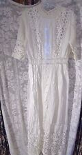 Vintage early 1900s long white lawn dress eyelet lace very fancy GREAT cond