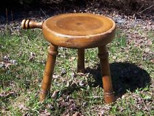 Primitive Antique 3 Legged Wooden Milking Stool w Handle/Authentic Vtg American
