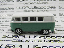 Welly 1/60 Scale LOOSE Green & White 1960's VOLKSWAGEN VW SAMBA MICROBUS #8166D