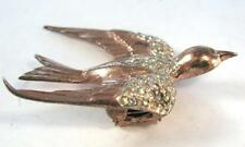 FABULOUS VINTAGE CORO CRAFT GOLD STERLING RHINESTONES BIRD DRESS FUR CLIP PIN