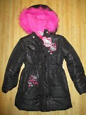 NEW☀ HELLO KITTY PUFFER JACKET COAT TOP Girls 6 Black Silver Pink $75 RV