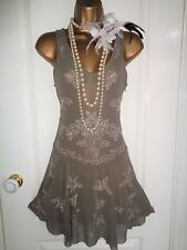 Glamorous beaded 1920's flapper style sheer dress UK 8 US 4 EU 36 Gatsby Downton