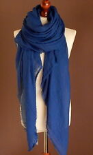 LUXE OVERSIZE LADIES SOFT PLAIN FRAYED FASHION SCARF ROYAL BLUE HIJAB*BRAND NEW*