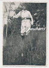 Foto Soldat Luftwaffe im Drillich   2.WK (b196)