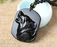 Rarely Handwork Natural Black Carved Obsidian Wolf Head Pendant + Beads Necklace