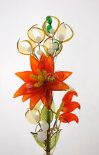 Amazing Orange Glass Flower Ornament Stunning Beautiful Valentines Day Gift New