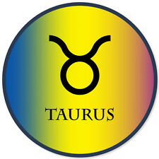"Taurus Zodiac Sign car bumper sticker 4"" x 4"""