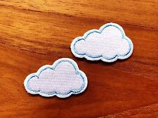Set of 2 pcs Mini White Cloud Iron On Patches Sew On Appliques