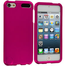 Hot Pink Snap-On Hard Rubberized Cover Case for iPod Touch 5th Generation 5G 5
