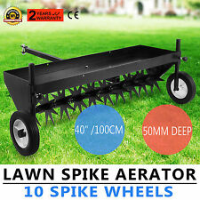 """Lawn Core Plug Aerator 40"""" Pull Behind Ride On Mower New 10 Spike Wheels Active"""