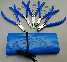 "NEW 5 PCS PLIERS KIT/ SET 4.5"" JEWELRY MAKING CRAFTS WIRES BLUE HANDLES+ POUCH"