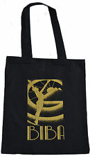 RETRO BIBA NUDE PYRAMID SUN SHOPPING ECO TOTE BAG 100% BLACK COTTON GOLD PRINT