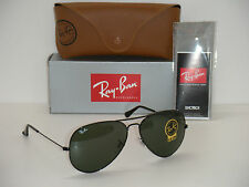 RAY BAN 3026 AVIATOR BLACK FRAME RB 3026 L2821 62mm GREEN G-15 SUNGLASSES  LARGE