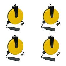 Case of 4 30′ Retractable Steel Extension Cord Work Reel w/ 3 Outlets 5000A-30GF