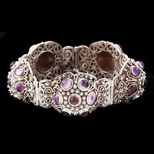 Antique Vintage Deco Sterling Silver Chinese Purple Amethyst Etruscan Bracelet!