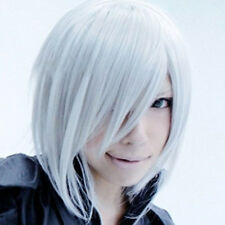 Wavy Silver Grey Unisex Final Fantasy Kadaj Medium Cosplay Wig Halloween Gift