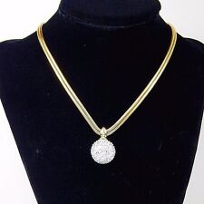 GLAM SIGNED SWAROVSKI PAVE CRYSTAL Disco Ball Pendant CHOKER Necklace Vintage