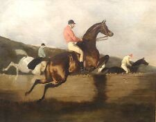 Fine Large 19th Century Steeple Chase Horse Racing Jockey Antique Oil Painting