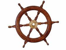 Wooden Nautical Ship Steering Wheel Pirate Decor Wood Bras Fishing Wall Boat 24""