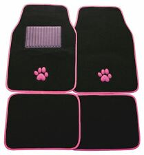Universal Car Mats Paw Pink Trim Front & Rears Anti Slip Rubber Backing Cat Dog
