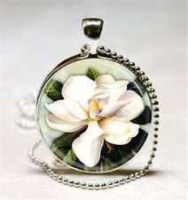 Vintage Flower Cabochon Glass Necklace Pendant with Ball Chain Necklace.