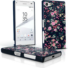 Floral PC Hard Case Cover Shell for Sony Xperia Z5 Compact E5803 + Screen Prot