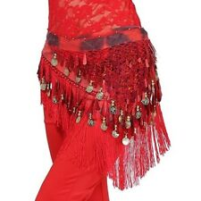 New Belly Dance Costume Hip Scarf Tribal Triangle Tassel Belt&Gold coins rainbow