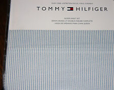 Tommy Hilfiger Blue & White Chambray Stripe QUEEN Sheet Set--NWT