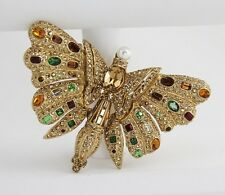 ULTRA RARE VINTAGE CINER Signed CRYSTAL & RHINESTONE HUGE BUTTERFLY BROOCH