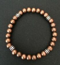 Copper Brown Metal And Tibetan Silver Beaded Bracelet. Surfer Boho Bracelet