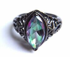WATERMELON RAINBOW CRYSTAL RING gunmetal black 10k gold-filled GF filigree sz 7