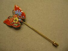 Vintage Vibrant Red Enamel Flower Decorated Butterfly Stick Hat Brooch Pin