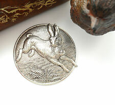 SILVER Round Vintage RABBIT Stamping ~ Antique Silver Finding (CA-3034)